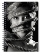 Young Expressive Woman Tied In Ropes Spiral Notebook