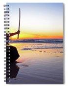 Young Samurai Women With Japanese Katana Sword At Sunset On The Beach Spiral Notebook