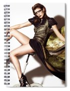 Young Woman In Long Dress On Exercise Bike Spiral Notebook