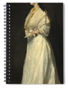 Young Woman In White Spiral Notebook