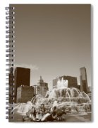 Chicago Skyline And Buckingham Fountain Spiral Notebook
