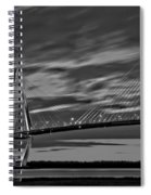 Ravenel Bridge Black And White Sunset Spiral Notebook