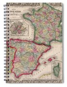 1800s France, Spain And Portugal County Map Color Spiral Notebook