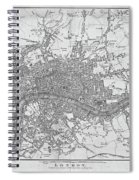1800s London Map Black And White London England Spiral Notebook