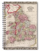 1800s Wales County Map Wales England Color Spiral Notebook