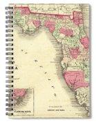 1864 Florida Map Color Spiral Notebook