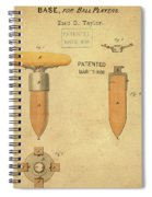 1868 Base For Baseball Players Patent In Sepia Spiral Notebook