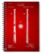 1885 Baseball Bat Patent Artwork - Red Spiral Notebook