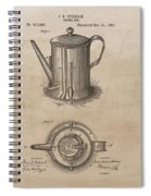 1889 Coffee Pot Patent Illustration Spiral Notebook