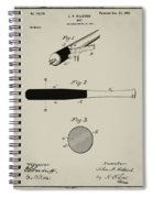 1902 Baseball Bat Patent In Aged Gray Spiral Notebook
