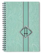 1920s Blue Deco Jazz Swing Monogram ...letter A Spiral Notebook