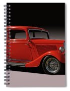 1934 Ford Red Two Door Sedan Spiral Notebook