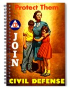 1942 Civil Defense Poster By Charles Coiner Spiral Notebook