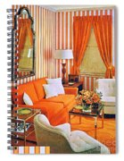 1960 70 Stylish Living Room Advertisement Orange And Stripes Groovy Baby Spiral Notebook
