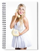 1960s Hot Gossip Woman With Retro Telephone Spiral Notebook