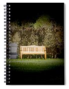 A Trash Can And Wooden Benches In A Small Grassy Area Spiral Notebook