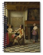 A Woman Drinking With Two Men Spiral Notebook