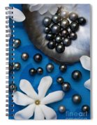 Black Pearls And Tiare Flowers Spiral Notebook