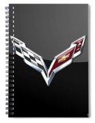 Chevrolet Corvette 3d Badge On Black Spiral Notebook