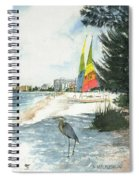Blue Heron And Hobie Cats, Crescent Beach, Siesta Key Spiral Notebook