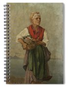 Fish Seller With The Vesuvio In The Background Spiral Notebook