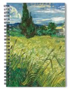 Green Wheat Field With Cypress Spiral Notebook