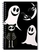 Halloween Bats Ghosts And Cat Spiral Notebook