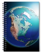 North America 3d Render Planet Earth Dark Space Spiral Notebook