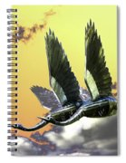 Psychedelic Metal Sculpture Of Two Swans Flying Spiral Notebook