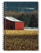 Snowy Red Barn In Winter Spiral Notebook