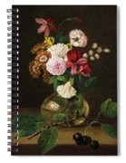 Still Life With Flowers In A Glass Vase And Cherry Twig Spiral Notebook