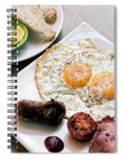 Traditional English British Fried Breakfast With Eggs Bacon And  Spiral Notebook