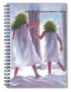 Two Sisters Jumping On The Bed  Spiral Notebook