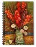 Vase With Red Gladioli  Spiral Notebook