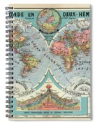 World Map In Two Hemispheres  Spiral Notebook