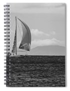 2017 Heineken Regatta Sailing Past Saba Saint Martin Sint Maarten Red Sail Black And White Spiral Notebook