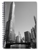 Chicago River And Skyline Spiral Notebook