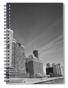 Chicago Skyline And Beach Spiral Notebook