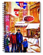 Montreal Street In Winter Spiral Notebook