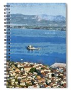 Nafplio Town And Bourtzi Fortress Spiral Notebook