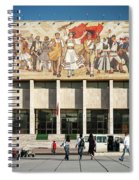 National Historical Museum Landmark And Mosaic Mural In Tirana A Spiral Notebook
