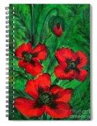 3 Red Poppies Spiral Notebook