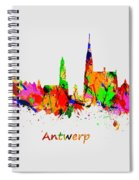 Watercolor Art Print Of The Skyline Of Antwerp In Belgium Spiral Notebook