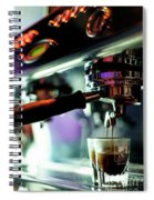 Making Espresso Coffee Close Up Detail With Modern Machine Spiral Notebook