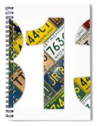 313 Area Code Detroit Michigan Recycled Vintage License Plate Art On White Background Spiral Notebook