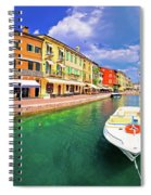 Lazise Colorful Harbor And Boats Panoramic View Spiral Notebook