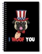 4th Of July Usa Indepedence Day Patriotic Uncle Sam Pug Dog Spiral Notebook