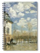 Boat In The Flood At Port Marly Spiral Notebook