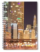 Chicago Illinois Tilt Effect Cityscape At Night Spiral Notebook