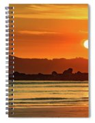 Orange Sunrise Seascape And Silhouettes Spiral Notebook